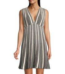 m missoni women's striped glitter-knit sleeveless dress - beige green multicolor - size 46 (10)