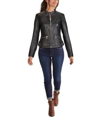 guess quilted shoulder zip-front leather jacket, created for macy's