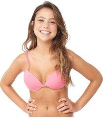 sutiã bojo push up rosa capricho - 461.011 capricho lingerie meia taça rosa