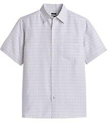 pronto uomo gray and blue plaid classic fit sport shirt