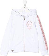 philipp plein crystal-embellished hoodie - white