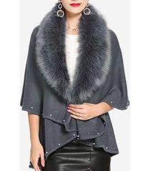 cappotti mantello colletto in pelliccia casual colore solido