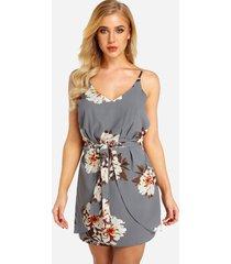 tirantes sin mangas con cintura elástica y estampado floral al azar vestido en gris