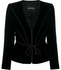 emporio armani waist-tied fitted blazer - black