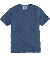 blue linen man t-shirt with printed pocket