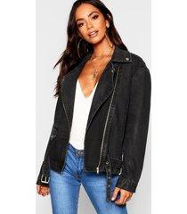 oversized denim biker jacket, black
