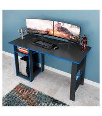 mesa para computador gamer 136cm fellicci móveis suporte cpu azul/grafite
