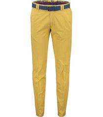 meyer pantalon oslo met riem geel camel flatfront