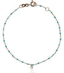 gigi clozeau 18k rose gold turquoise beaded single diamond bracelet -