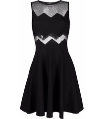 antonino valenti marina open-knit skater dress - black