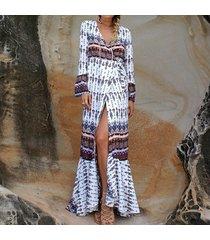vestido largo bohemia sexy casual playa -café