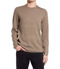 men's theory arnaud wool crewneck sweater, size xx-large - brown