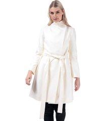 womens platform felt belted coat