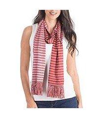 reversible cotton scarf, 'cherry cream' (guatemala)