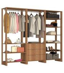 guarda roupa closet 3 peças 2 cabideiros marrom