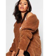 faux fur teddy jas met sjaal kraag, brown