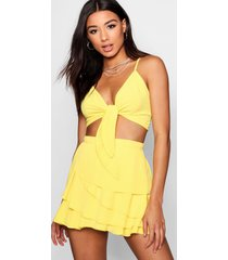 frill skort tie top co-ord set, yellow