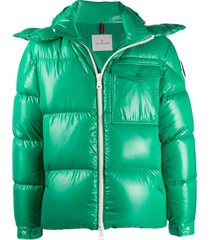 moncler patent padded jacket - green
