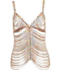 multicolored embellished chain top