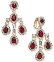charter club crystal teardrop chandelier clip-on earrings, created for macy's