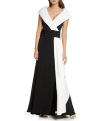 women's tadashi shoji portrait collar crepe gown, size 6 - black