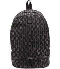 boss monogram-print structured backpack - black
