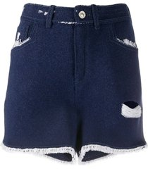 distressed dark blue denim shorts