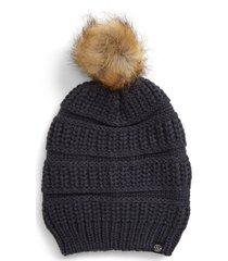 women's treasure & bond faux fur pom beanie - blue