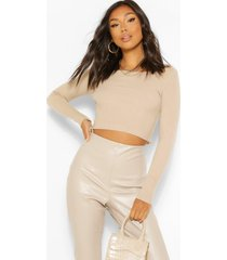 ruched rib knit crop sweater, stone