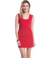 vestido curto ralm nervuras vermelho