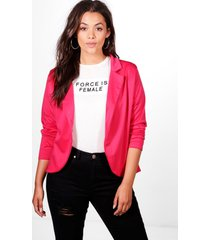 plus one button ponte blazer, cerise