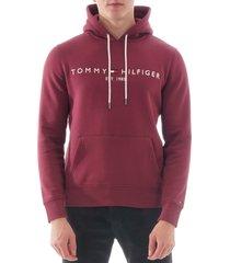 tommy logo hoodie - tawny port 11599-xuu