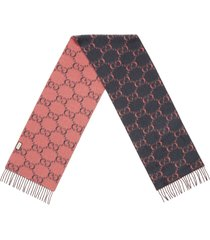 women's gucci double g logo wool scarf