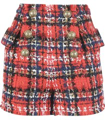 balmain check button-embellished shorts