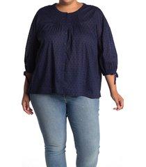plus size women's caslon tie sleeve button-up shirt, size 2x - blue