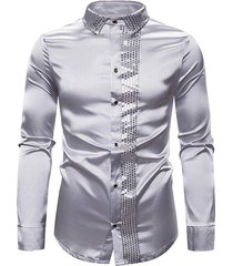 shiny sequins panel button up shirt