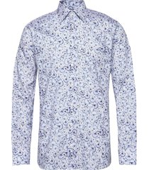 blue papyrus print twill shirt overhemd business blauw eton