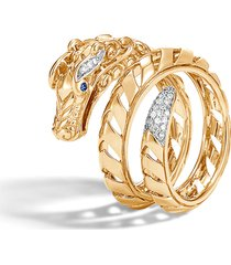 john hardy legends naga 18k gold & diamond dragon ring, size 7 in yellow gold at nordstrom