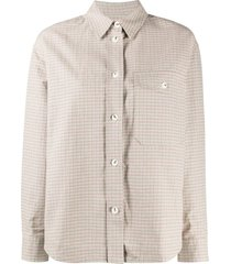 wood wood check-print long-sleeved shirt - green