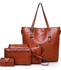 4 pezzi borsa a tracolla multifunzione in pelle pu per donna borsa borsa vintage borsa