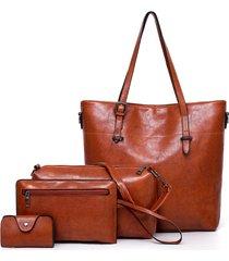 borsa a tracolla multifunzione in pelle pu da donna con 4 pezzi borsa tote vintage borsa