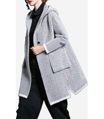 cappotto maglione con cappuccio con collo a punta dentellata