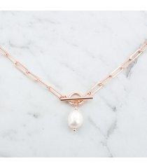 choker łańcuszek duże ogniwa z perłą