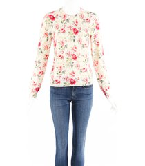 comme des garcons red floral wool knit sweater red/cream/floral print sz: s