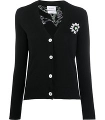 barrie button-up stitched symbol cardigan - black