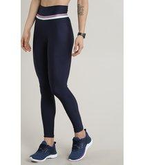 calça legging feminina esportiva ace com lurex azul marinho