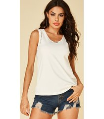 yoins basics blanco split diseño redondo cuello blusa sin mangas