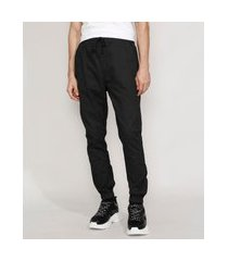 calça de sarja masculina jogger skinny estampada mini print com cordão preta