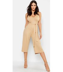 jumbo ribbed culotte lounge jumpsuit, tan