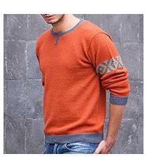men's 100% alpaca sweater, 'chakana wanderer' (peru)